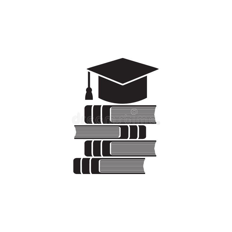 una pila de libros con un ejemplo graduado del casquillo Elemento del icono de la biblioteca para los apps móviles del concepto y ilustración del vector