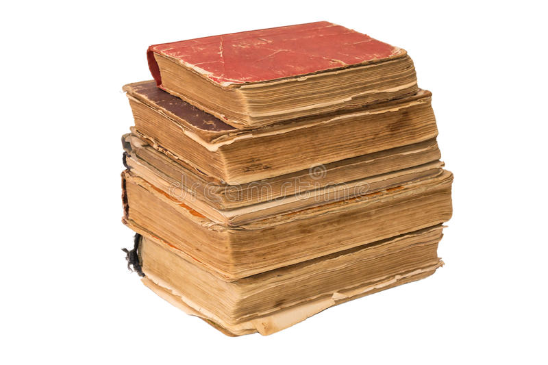 Una pila de libros hechos andrajos viejos Libros rasgados vintage Antigüedades aisladas fotos de archivo