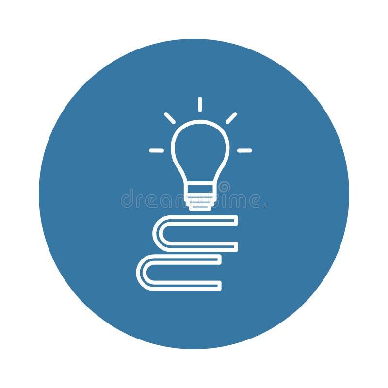 una pila de libros y de un icono de la bombilla Elemento de los iconos de los libros y de las revistas para los apps móviles del  stock de ilustración