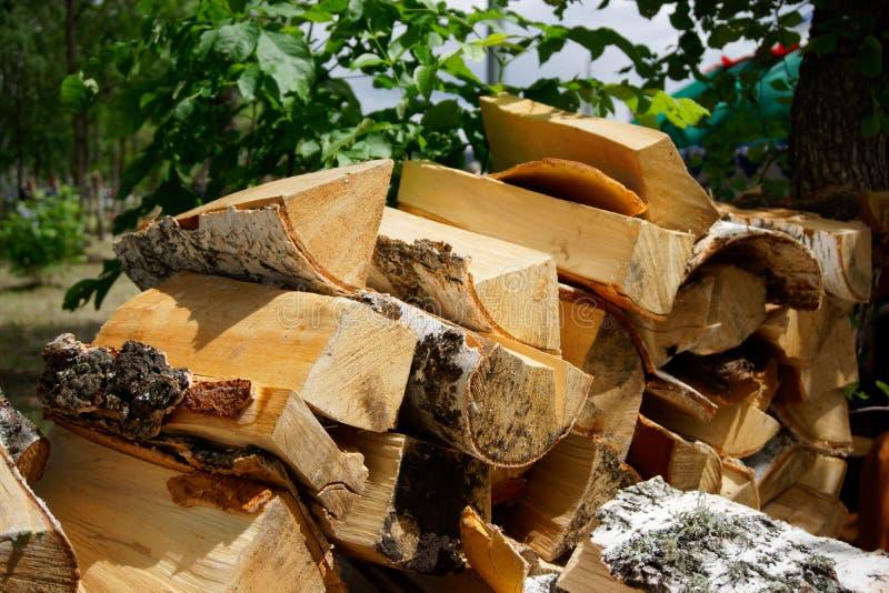 Una pila de madera de abedul preparada para encender durante una comida campestre en artículos respetuosos del medio ambiente y n fotos de archivo libres de regalías