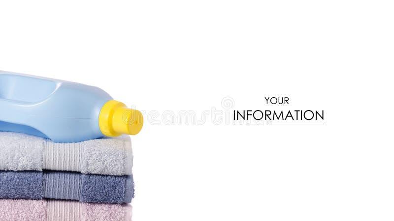 Una pila de modelo l?quido del detergente para ropa del acondicionador del suavizador de las toallas ilustración del vector