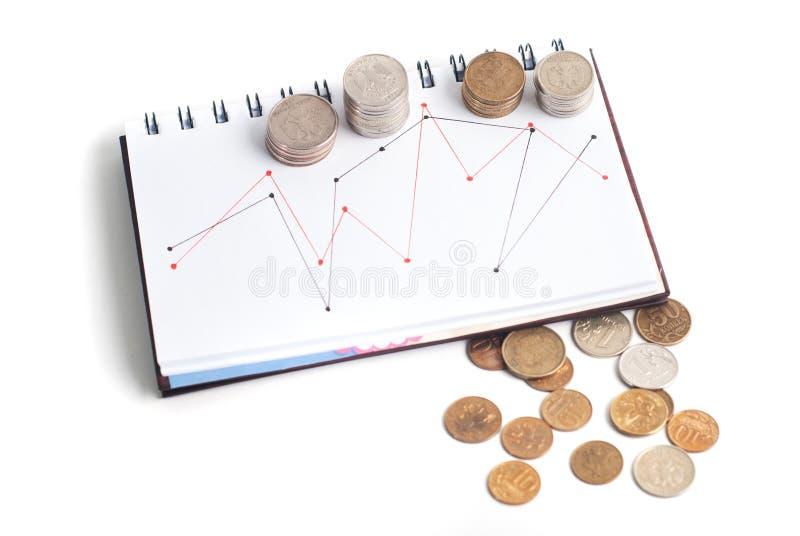 Una pila de monedas, el horario en el cuaderno, t imagen de archivo libre de regalías