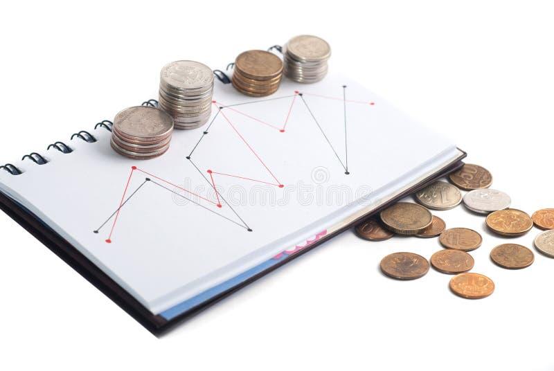 Una pila de monedas, el horario en el cuaderno, t imagen de archivo