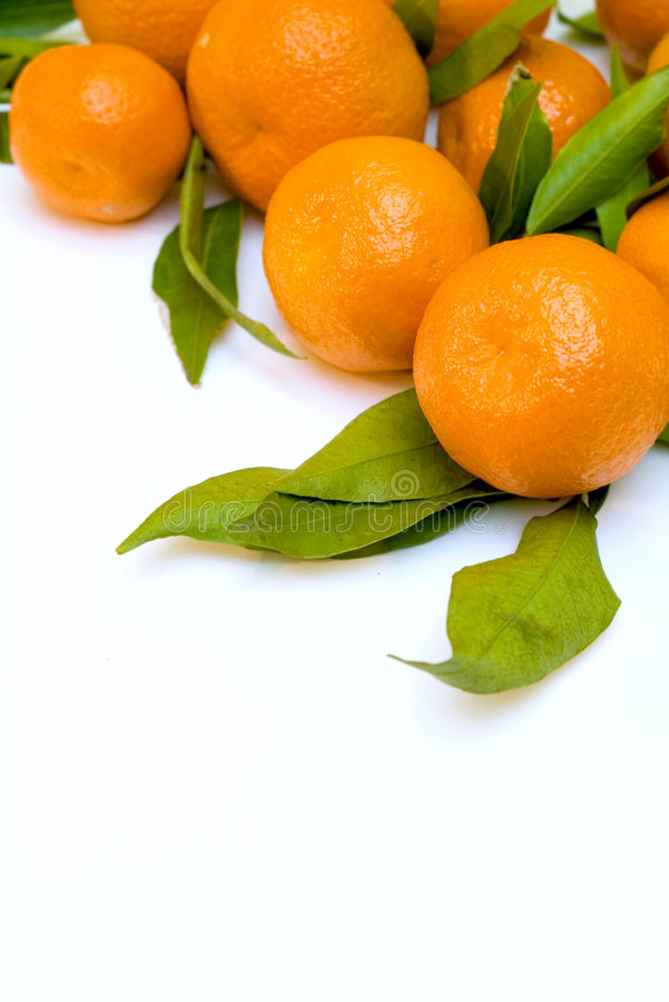 Una pila de ramificaciones de la mandarina foto de archivo