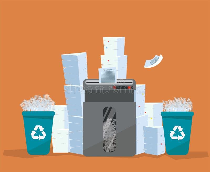 Una pila de soportes del papel y de los documentos sobre trituradora grande del piso Mucho concepto del papeleo Pilas enormes de  libre illustration