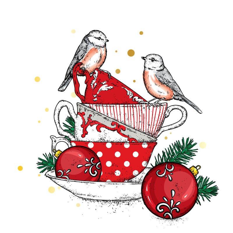 Una pila de tazas multicoloras del vintage con las bolas de la Navidad Vector el ejemplo para una postal o un cartel ilustración del vector