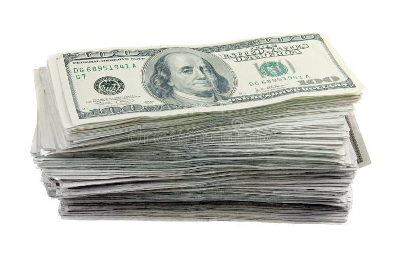 Una Pila Di 100 Fatture Del Dollaro Fotografia Stock Libera da Diritti