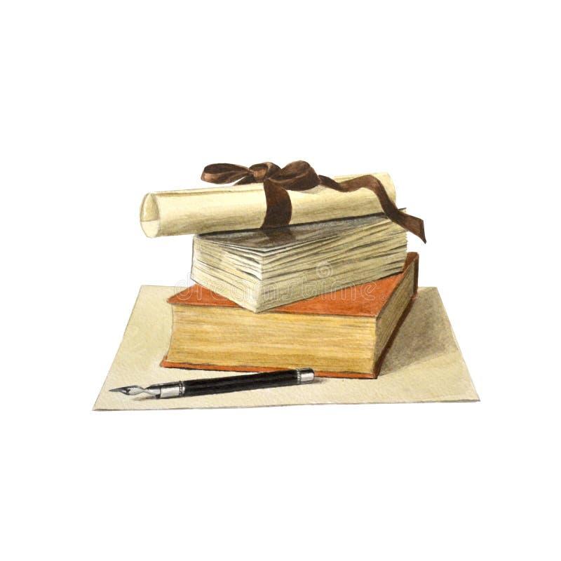 Una pila di libri colorati, di rotolo di carta e di penna stilografica illustrazione vettoriale
