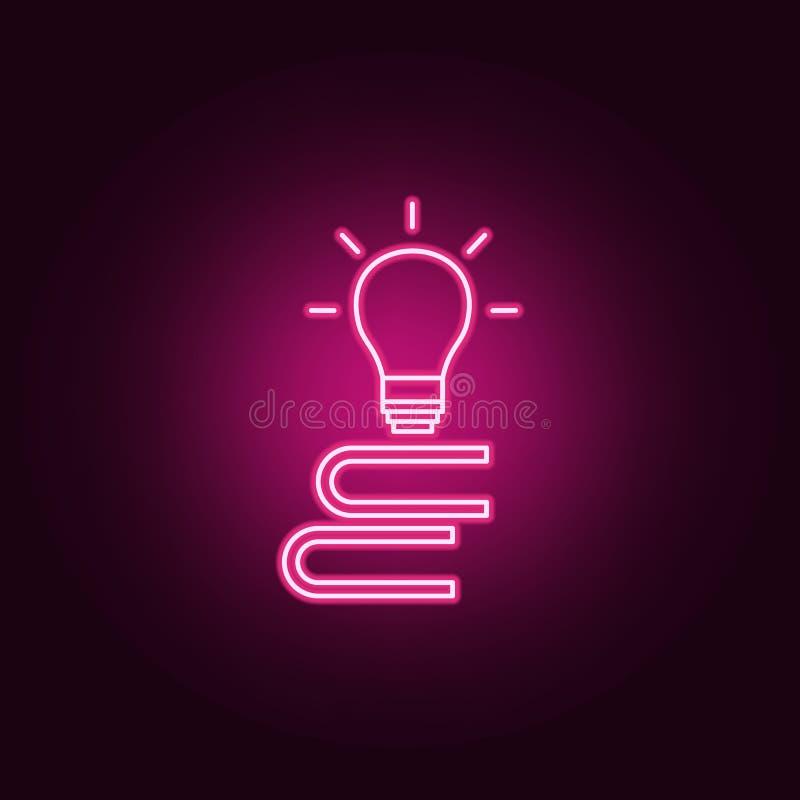 una pila di libri e di icona della lampadina Elementi dei libri e delle riviste nelle icone al neon di stile Icona semplice per i illustrazione vettoriale