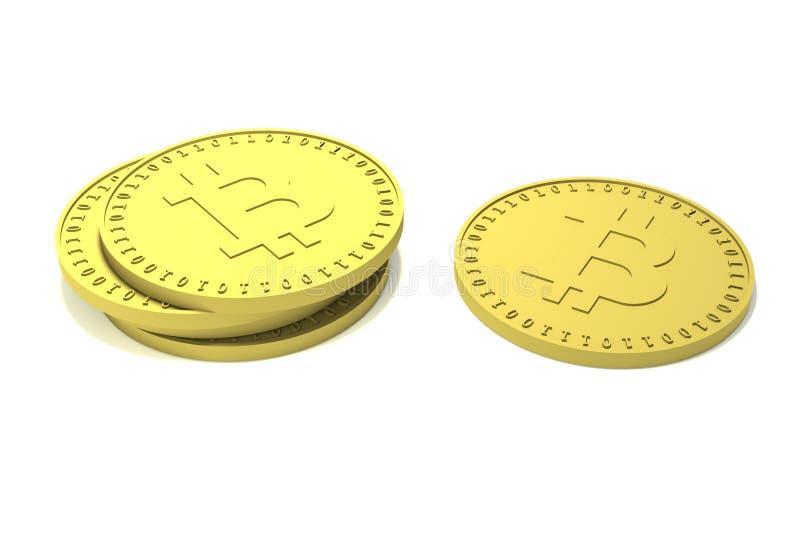 Una pila di monete di oro e una moneta separata con il simbolo del bitcoin cripto digitale di valuta fanno luce le ombre su super illustrazione vettoriale