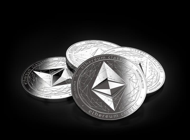 Una pila di quattro Ethereum d'argento ecc classico conia mettere sui precedenti neri royalty illustrazione gratis