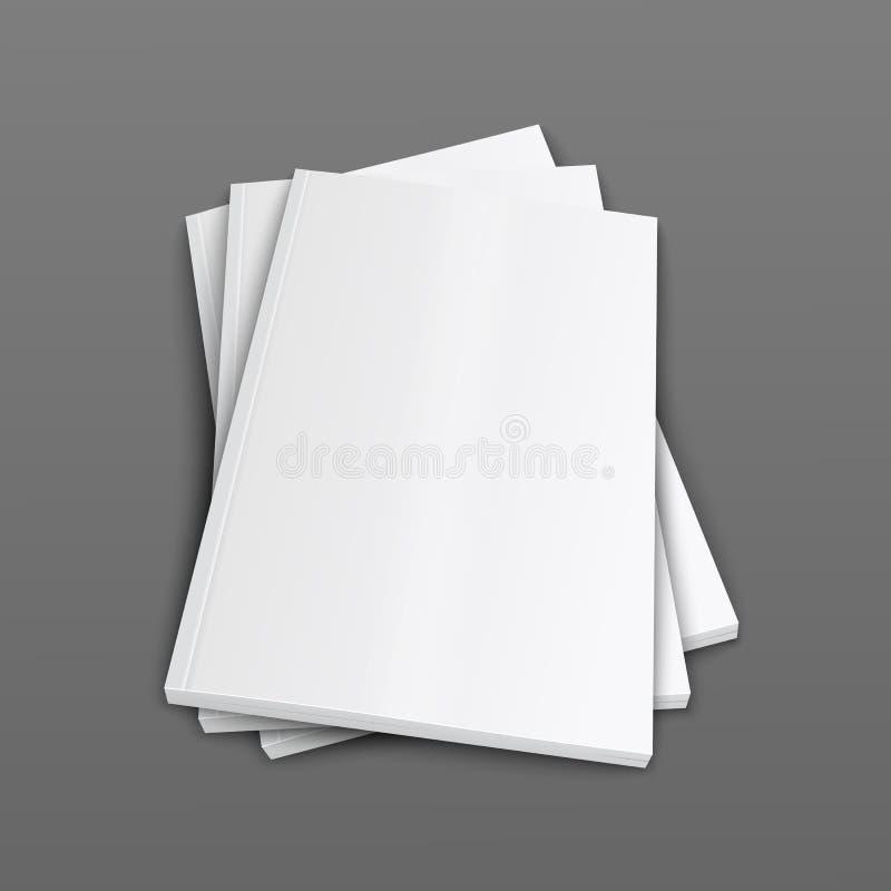Una pila di riviste o di opuscolo riguarda l'illustrazione realistica del modello di vettore 3d royalty illustrazione gratis