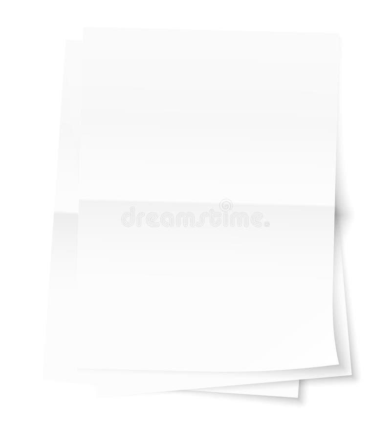 Una pila di tre fogli di carta impilati sopra a vicenda Pieghi in mezzo allo strato Ombre trasparenti sopra illustrazione vettoriale