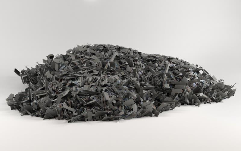 Una pila grande de desecho en fondo ligero fotos de archivo libres de regalías