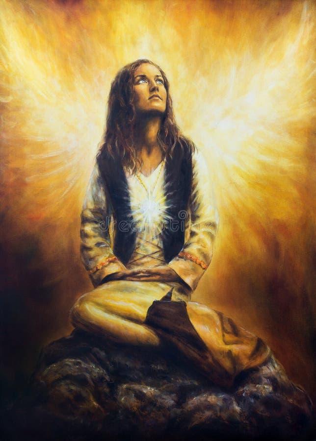 Una pintura al óleo hermosa en lona de una mujer joven en historica ilustración del vector
