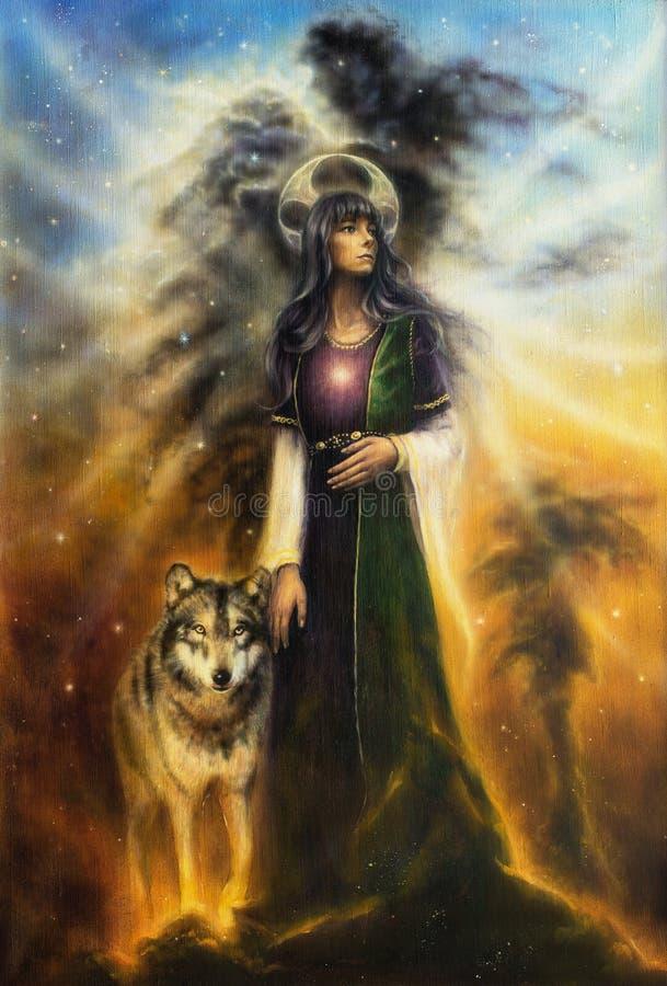 Una pintura al óleo hermosa en lona de una sacerdotisa de hadas mística stock de ilustración