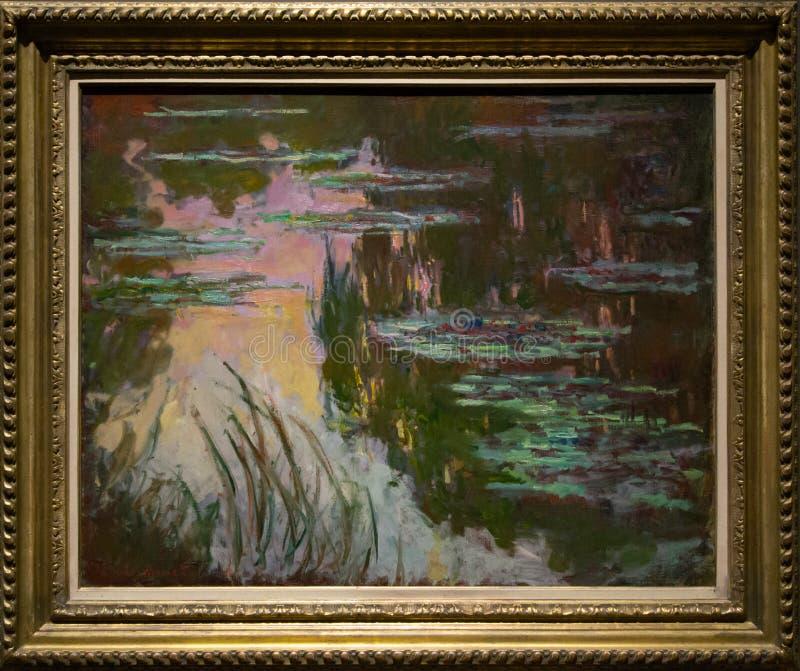Una pintura de Claude Monet en el National Gallery en Londres imagen de archivo libre de regalías