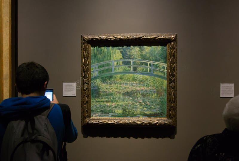 Una pintura de Claude Monet en el National Gallery en Londres imágenes de archivo libres de regalías
