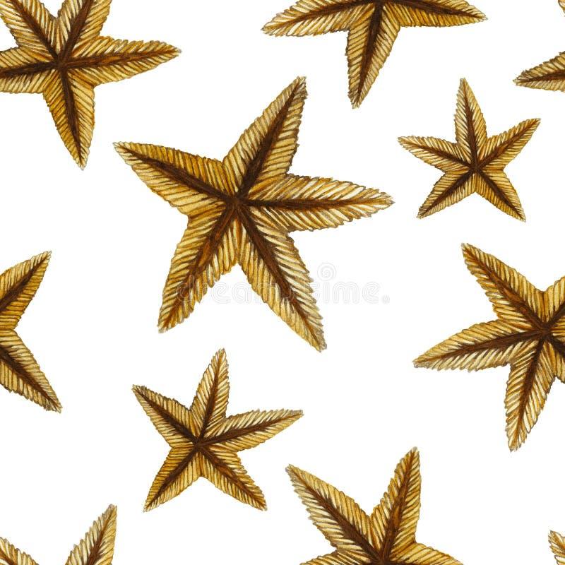 Una pintura de la acuarela de un color de la arena de una estrella de mar petrificó una clase de invertebrados tales como equinod ilustración del vector