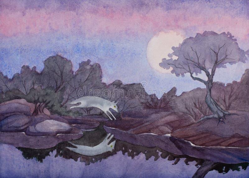 Una pintura de la acuarela de un coyote que salta sobre una piscina del agua inmóvil debajo de una Luna Llena en el sudoeste del foto de archivo
