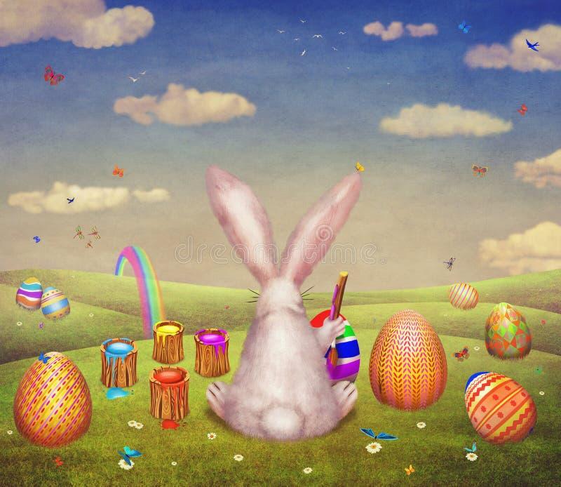 Una pintura linda del conejito del huevo para pascua en una colina rodeada por los huevos de Pascua stock de ilustración