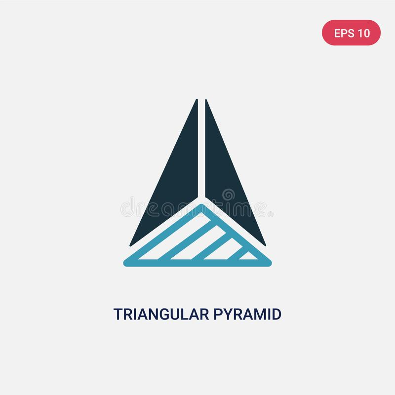 Una piramide triangolare di due colori dall'icona di vettore di vista superiore dal concetto di forme piramide triangolare blu is illustrazione di stock