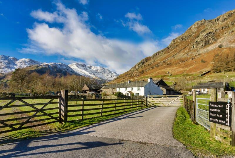Una pista che conduce ad una fattoria isolata alla testa di Langdale fotografia stock libera da diritti