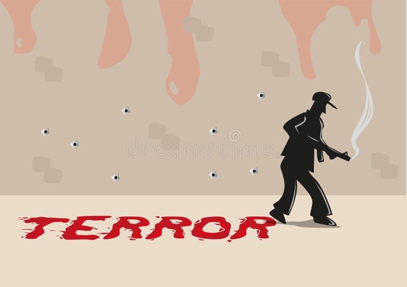 Una pistola con la tipografía del terror hecha de manchas de la sangre Clip art Editable libre illustration