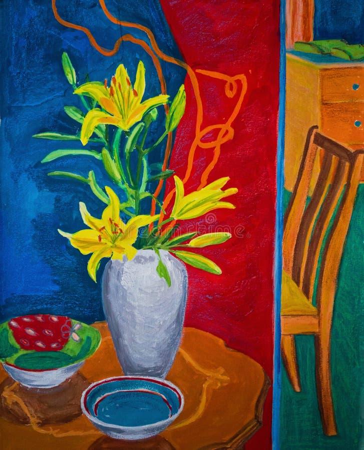 Una pittura Colourful di gouache di due stanze con i fiori immagine stock