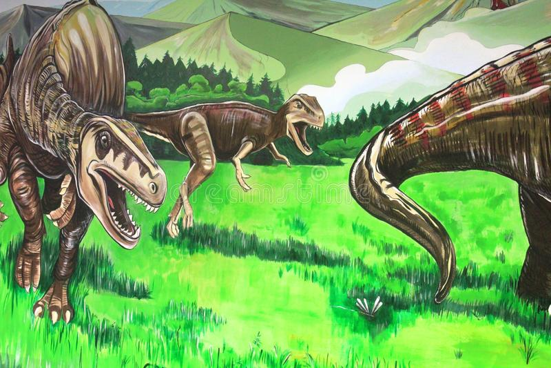 Una pittura dei dinosauri in Gondwana, il museo preistorico della parete in Germania immagine stock libera da diritti