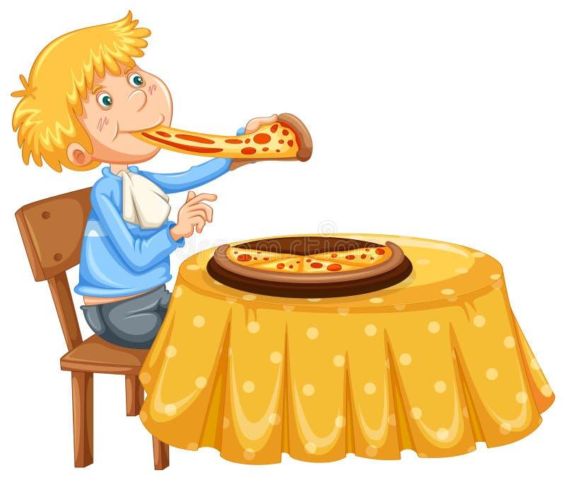 Una pizza mangiatrice di uomini su fondo bianco royalty illustrazione gratis