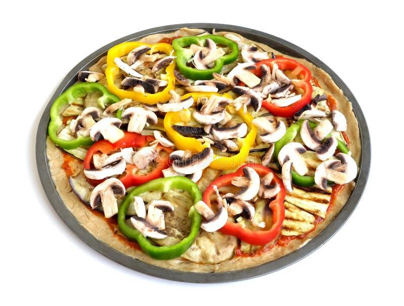 Una pizza vegetariana variopinta (vista superiore) immagini stock libere da diritti