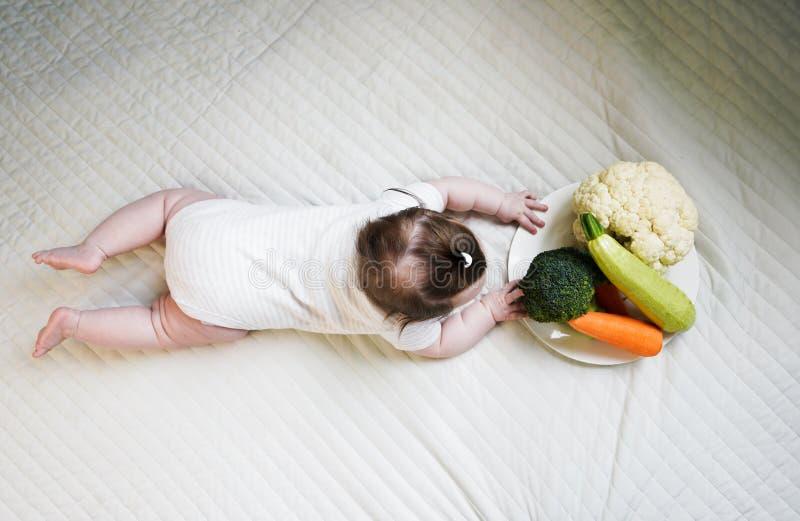 Una placa de las verduras - br?culi, calabac?n, zanahorias y coliflor Poco beb? en el fondo imagen de archivo