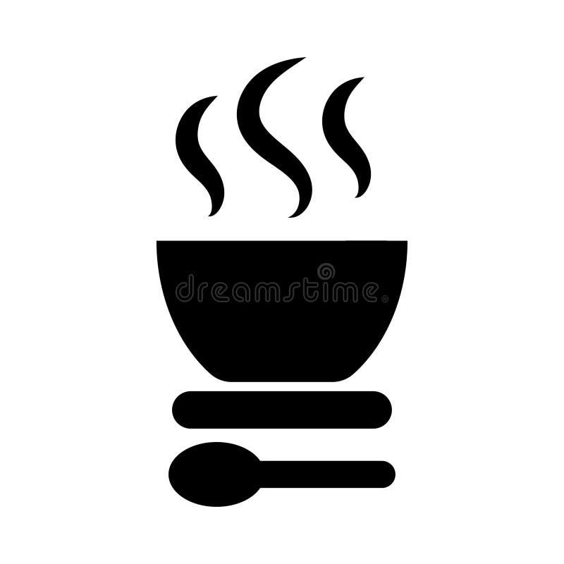 Una placa del icono caliente de la sopa Ejemplo del vector del icono de la sopa ilustración del vector