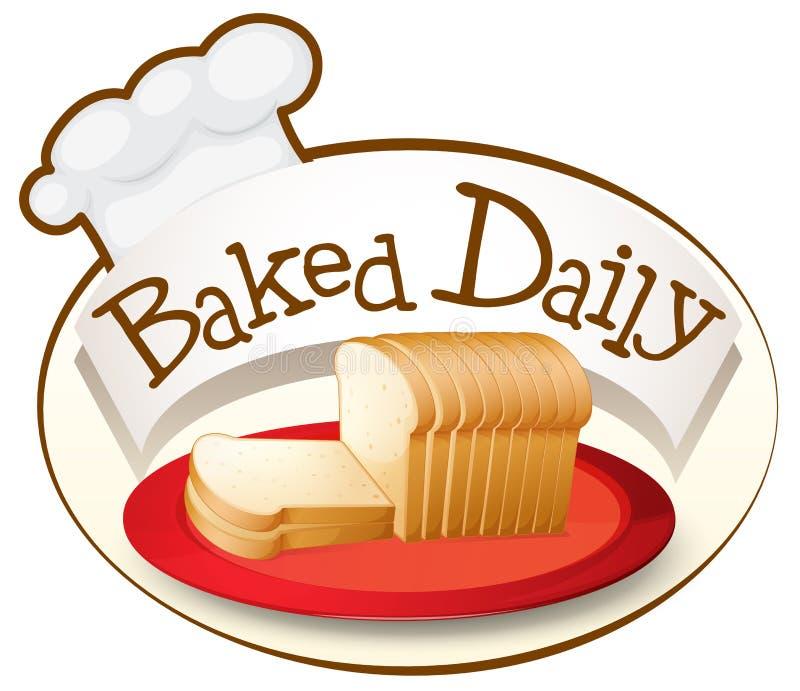 Una placa del pan con una etiqueta diaria cocida stock de ilustración
