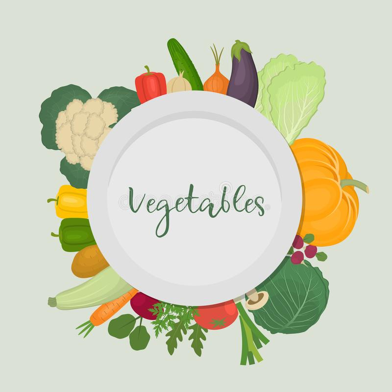 Una placa rodeada por las verduras libre illustration