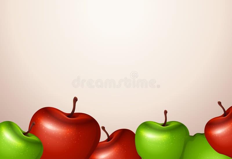 Una plantilla con las manzanas rojas y verdes ilustración del vector