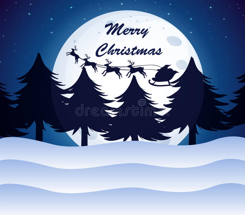 Una Plantilla De La Navidad Con Una Luna, Los árboles De Pino Y Los ...