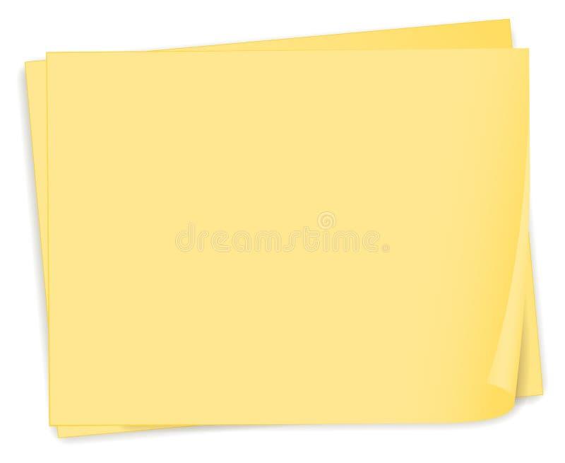Una plantilla de papel amarilla vacía libre illustration