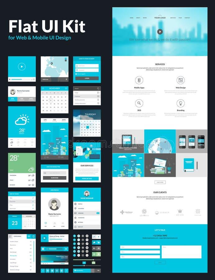 Una plantilla del diseño del sitio web de la página stock de ilustración