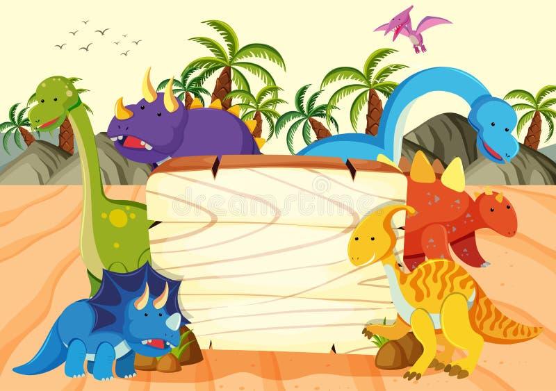 Una plantilla del tablero de madera del dinosaurio stock de ilustración