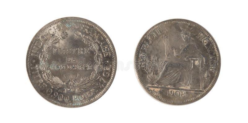 1908 una plata de indochina francés 1 Piastre fotos de archivo