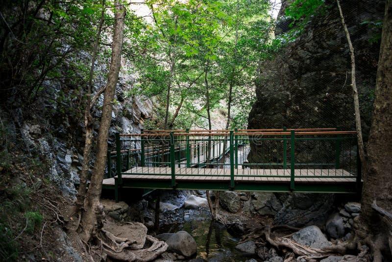 Una plataforma y un puente de observación en Millomeris cae cerca de Platres, Chipre foto de archivo
