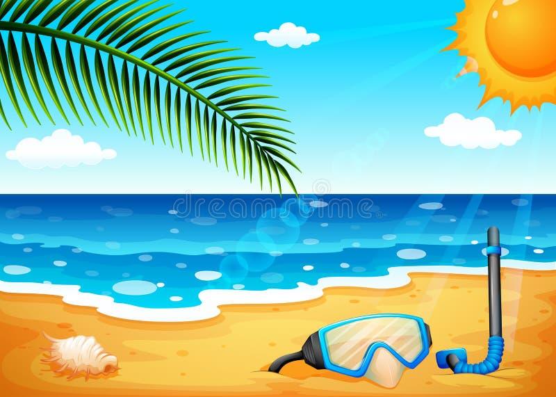 Una playa con un sol shinning libre illustration