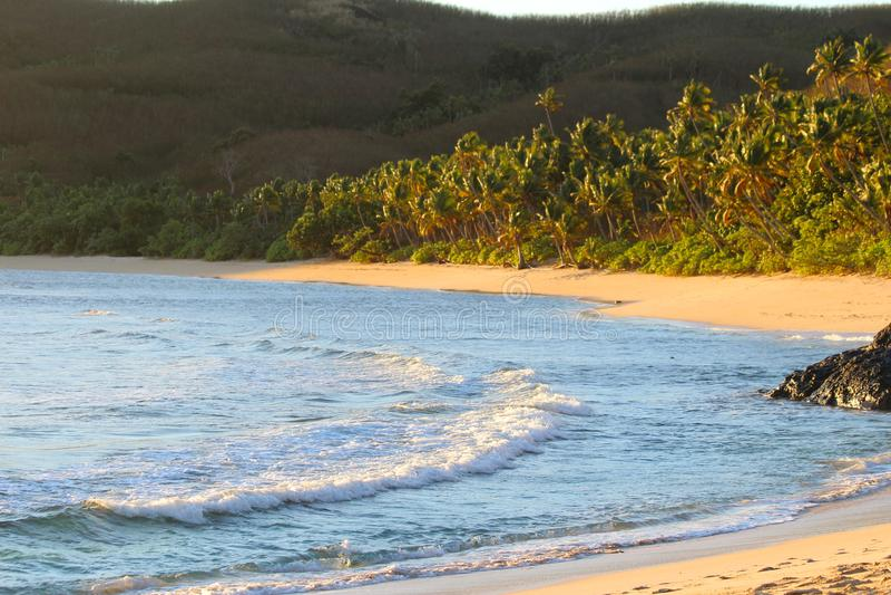 Una playa de la arena en una isla tropical, Fiji fotografía de archivo