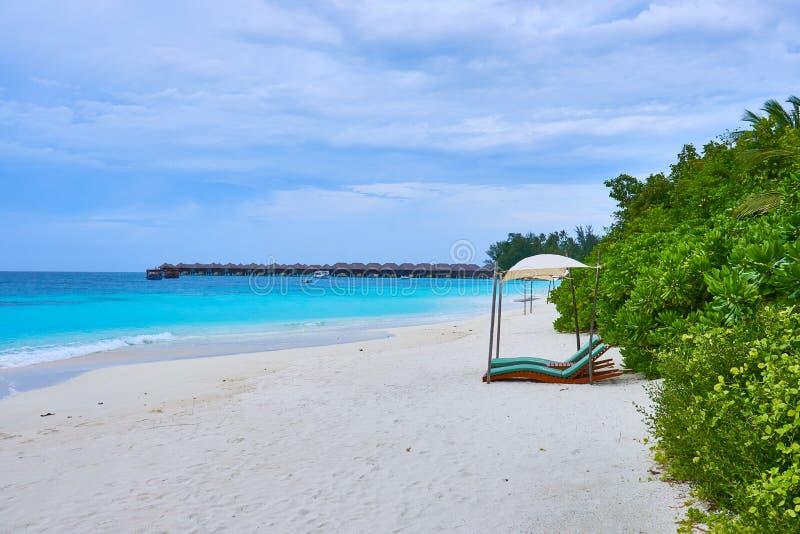Una playa en Maldivas con sunbed y arbustos con vistas al mar de la turquesa y al cielo azul con las nubes hermosas imagen de archivo