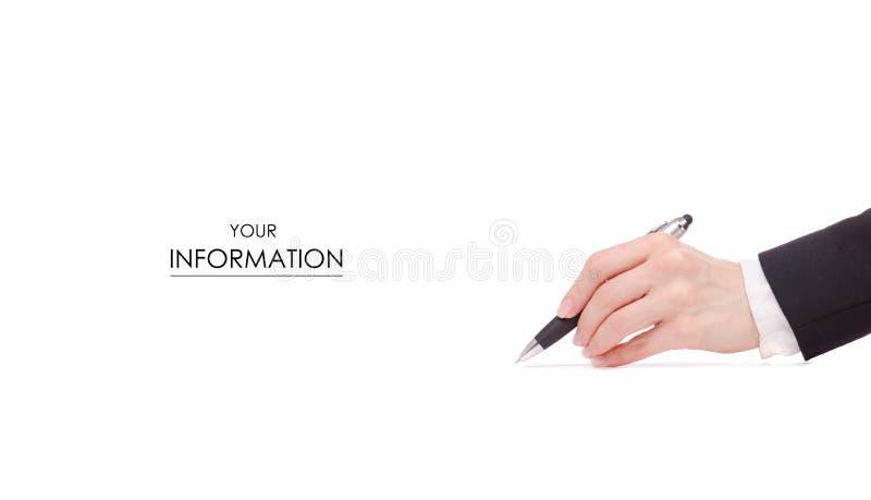 Una pluma en modelo femenino de la chaqueta del negro de la mujer de negocios de la firma de la mano imagen de archivo libre de regalías