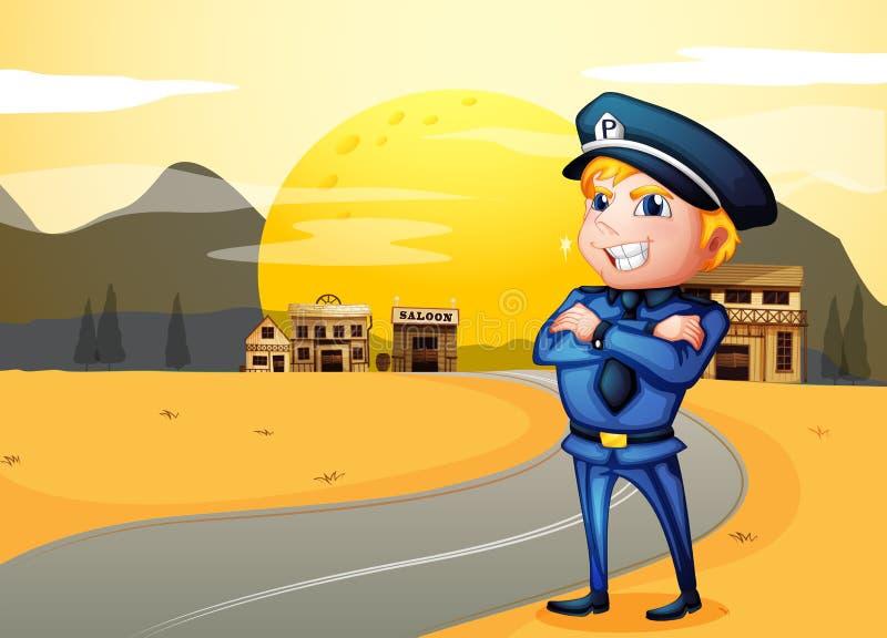Una policía en la calle en medio de la noche ilustración del vector
