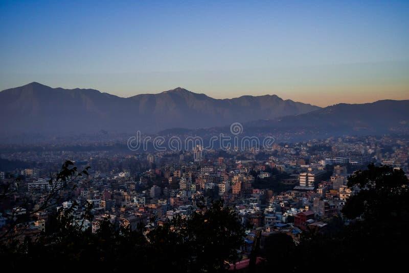 Una porción del valle de Katmandú de la altitud fotos de archivo libres de regalías