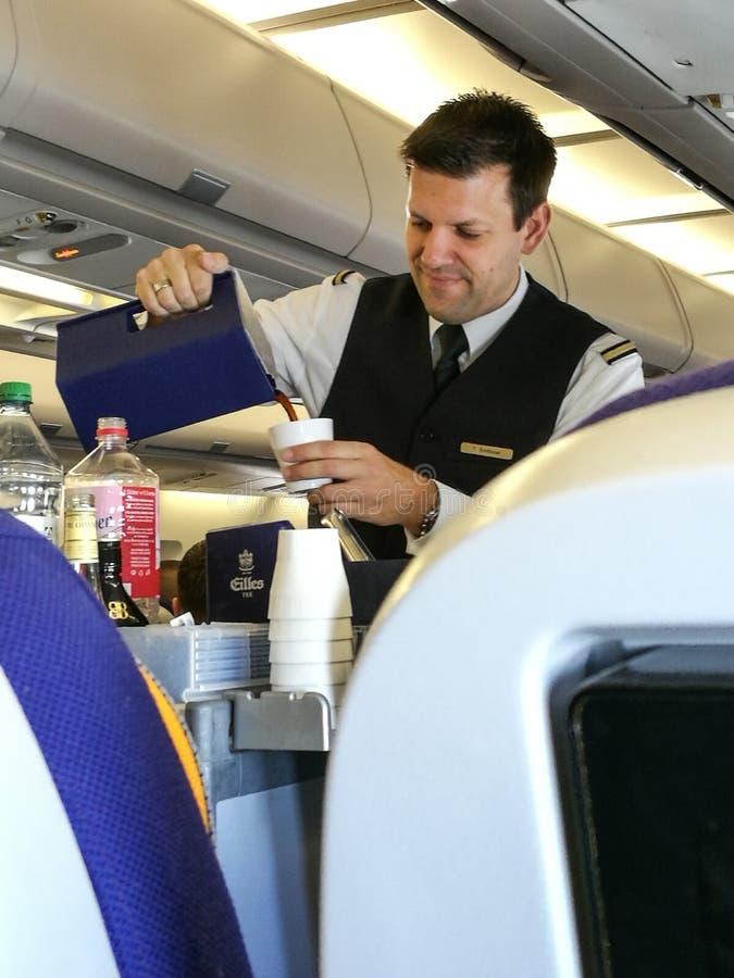 Una porción masculina del asistente de vuelo en la clase de economía fotografía de archivo